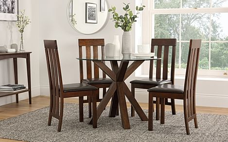 Hatton Round Dark Wood and Glass Dining Table with 4 Chester Chairs (Brown Leather Seat Pads)