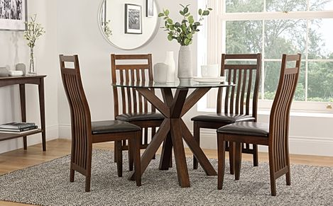 Hatton Round Dark Wood and Glass Dining Table with 4 Java Chairs (Brown Leather Seat Pads)