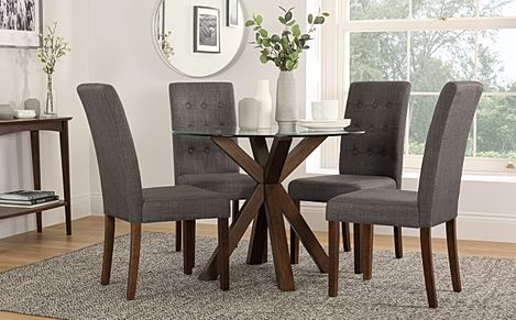 Hatton Round Dark Wood and Glass Dining Table with 4 Regent Slate Fabric Chairs