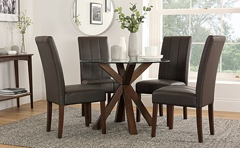 Hatton Round Dark Wood and Glass Dining Table with 4 Carrick Brown Leather Chairs