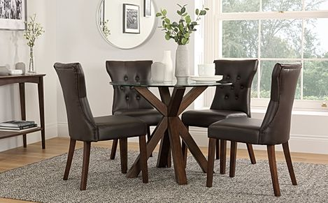 Hatton Round Dark Wood and Glass Dining Table with 4 Bewley Brown Leather Chairs
