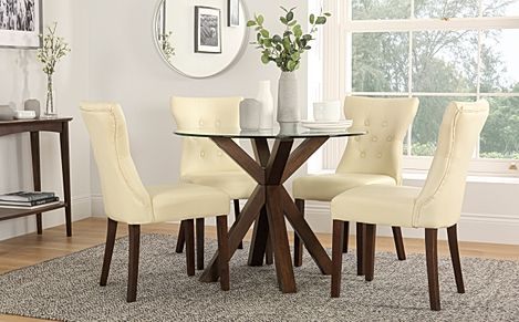 Hatton Round Dark Wood and Glass Dining Table with 4 Bewley Ivory Leather Chairs