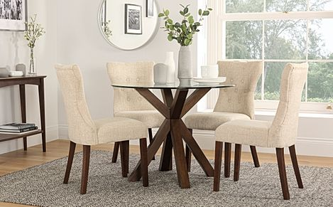 Hatton Round Dark Wood and Glass Dining Table with 4 Bewley Oatmeal Fabric Chairs