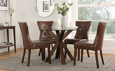 Hatton Round Dark Wood and Glass Dining Table with 4 Bewley Club Brown Leather Chairs
