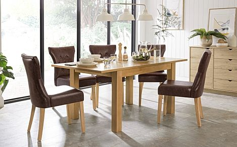 Hamilton 120-170cm Oak Extending Dining Table with 6 Bewley Club Brown Leather Chairs
