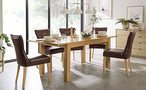 Hamilton 150-200cm Oak Extending Dining Table with 4 Bewley Club Brown Leather Chairs