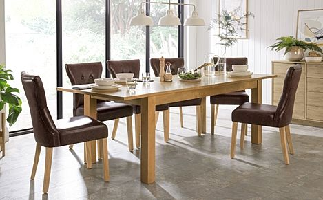 Hamilton 180-230cm Oak Extending Dining Table with 6 Bewley Club Brown Leather Chairs