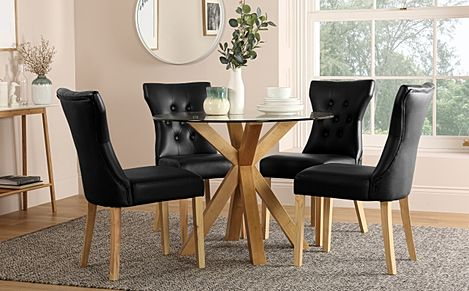 Hatton Round Oak and Glass Dining Table with 4 Bewley Black Leather Chairs