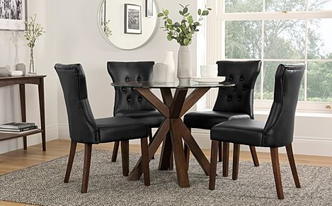 Hatton Round Dark Wood and Glass Dining Table with 4 Bewley Black Leather Chairs