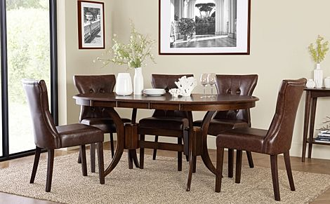 Townhouse Oval Dark Wood Extending Dining Table with 4 Bewley Club Brown Leather Chairs