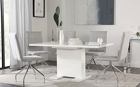 Osaka White High Gloss Extending Dining Table with 6 Soho Dove Grey Dining Chairs