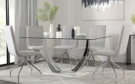Peake Glass & Chrome Dining Table (White Gloss Base) with 4 Soho Dove Grey Dining Chairs