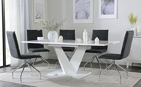 Turin White High Gloss Extending Dining Table with 6 Soho Slate Grey Dining Chairs