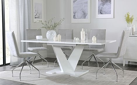Turin White High Gloss Extending Dining Table with 6 Soho Dove Grey Dining Chairs