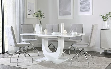 Oslo White High Gloss Extending Dining Table with 4 Soho Dove Grey Dining Chairs