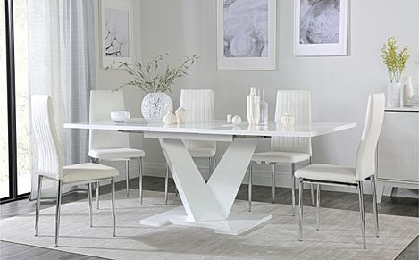Turin White High Gloss Extending Dining Table with 4 Leon White Leather Chairs