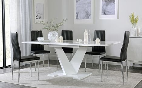 Turin White High Gloss Extending Dining Table with 6 Leon Black Leather Chairs