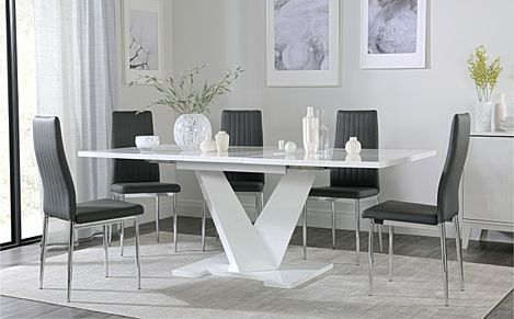 Turin White High Gloss Extending Dining Table with 6 Leon Grey Leather Chairs