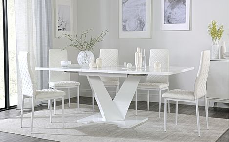 Turin White High Gloss Extending Dining Table with 6 Renzo White Dining Chairs (White Legs)