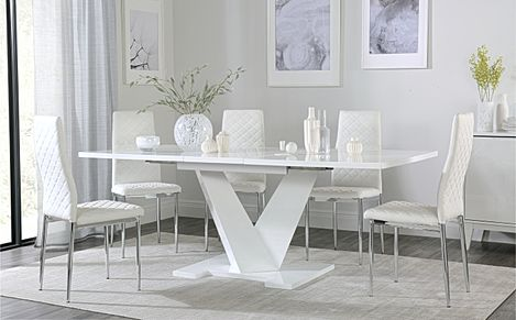 Turin White High Gloss Extending Dining Table with 6 Renzo White Leather Chairs
