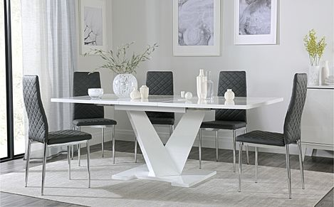 Turin White High Gloss Extending Dining Table with 6 Renzo Grey Dining Chairs