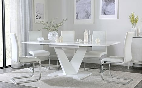 Turin White High Gloss Extending Dining Table with 6 Perth White Leather Chairs