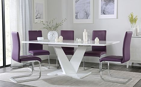 Turin White High Gloss Extending Dining Table with 6 Perth Purple Dining Chairs