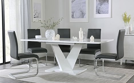 Turin White High Gloss Extending Dining Table with 6 Perth Grey Leather Chairs