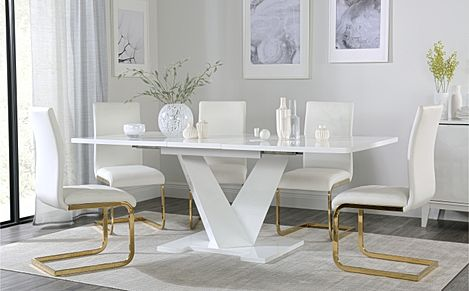 Turin White High Gloss Extending Dining Table with 6 Perth White Leather Chairs (Gold Legs)
