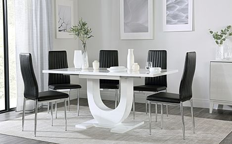 Oslo White High Gloss Extending Dining Table with 4 Leon Black Leather Chairs