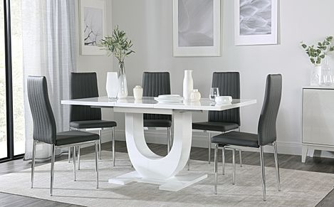 Oslo White High Gloss Extending Dining Table with 4 Leon Grey Leather Chairs