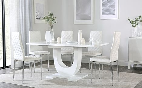 Oslo White High Gloss Extending Dining Table with 6 Renzo White Leather Chairs