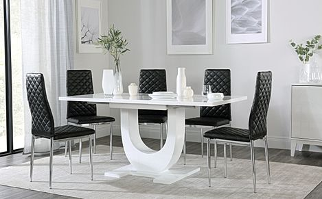 Oslo White High Gloss Extending Dining Table with 6 Renzo Black Dining Chairs