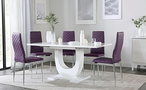 Oslo White High Gloss Extending Dining Table with 6 Renzo Purple Dining Chairs