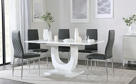 Oslo White High Gloss Extending Dining Table with 6 Renzo Grey Dining Chairs