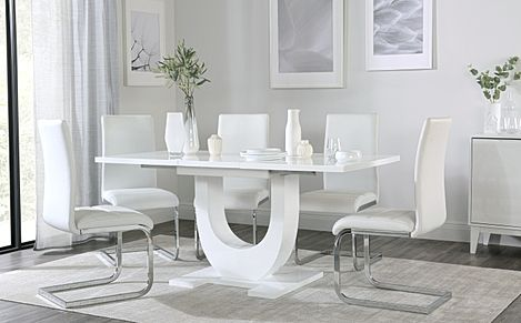 Oslo White High Gloss Extending Dining Table with 6 Perth White Leather Chairs