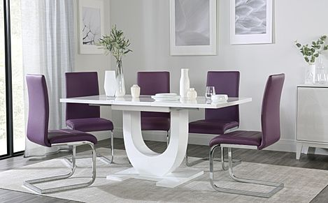 Oslo White High Gloss Extending Dining Table with 6 Perth Purple Leather Chairs