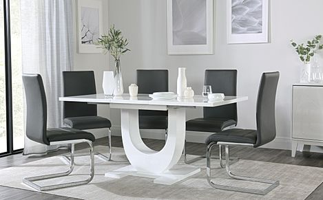 Oslo White High Gloss Extending Dining Table with 4 Perth Grey Dining Chairs