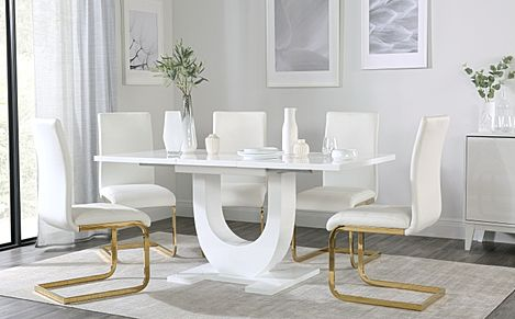 Oslo White High Gloss Extending Dining Table with 6 Perth White Leather Chairs (Gold Legs)