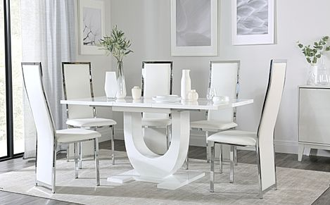 Oslo White High Gloss Extending Dining Table with 4 Celeste White Leather Chairs