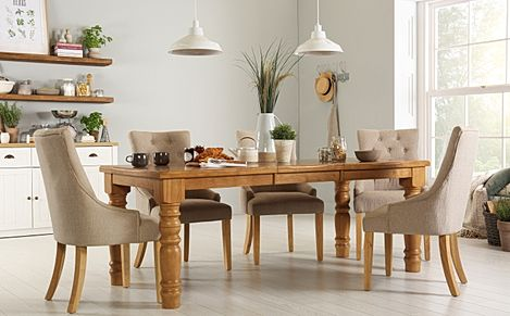 Hampshire Oak Extending Dining Table with 4 Duke Oatmeal Chairs
