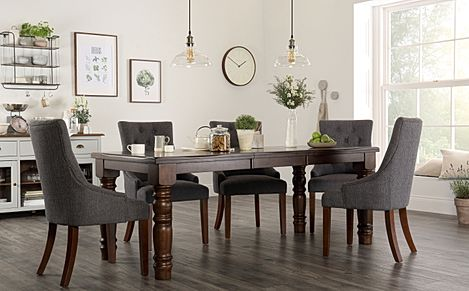 Hampshire Dark Wood Extending Dining Table with 4 Duke Slate Fabric Chairs