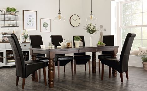 Hampshire Dark Wood Extending Dining Table with 6 Boston Brown Leather Chairs