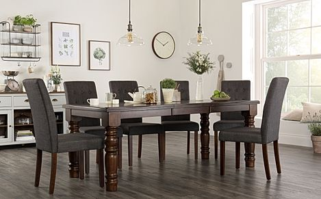 Hampshire Dark Wood Extending Dining Table with 6 Regent Slate Fabric Chairs