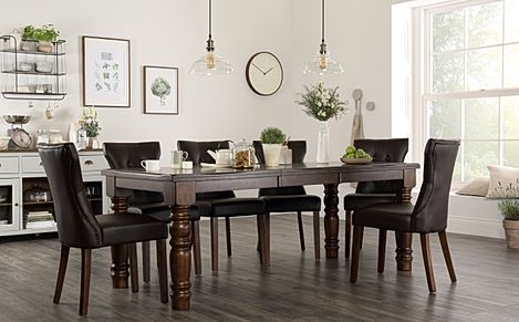 Hampshire Dark Wood Extending Dining Table with 6 Bewley Brown Leather Chairs