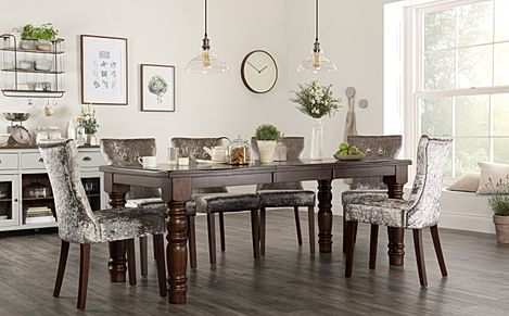 Hampshire Dark Wood Extending Dining Table with 6 Bewley Silver Velvet Chairs