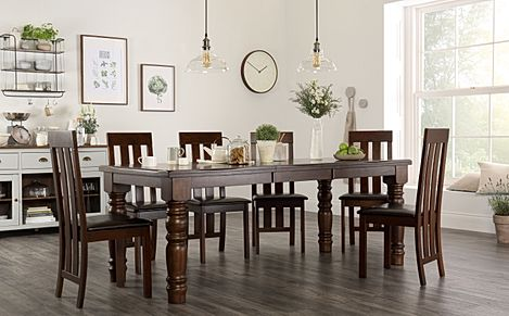 Hampshire Dark Wood Extending Dining Table with 6 Chester Chairs (Brown Leather Seat Pads)