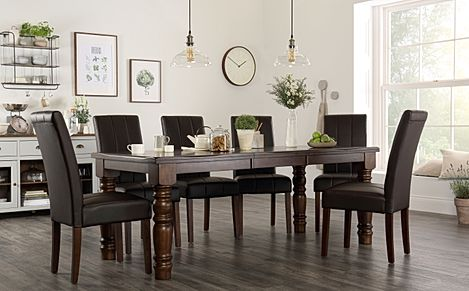 Hampshire Dark Wood Extending Dining Table with 8 Carrick Brown Leather Chairs
