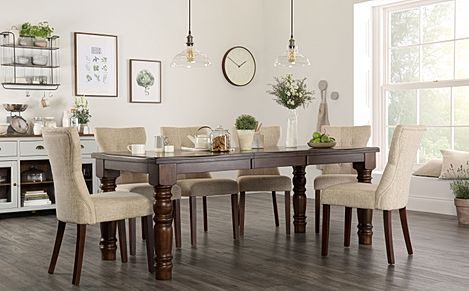 Hampshire Dark Wood Extending Dining Table with 8 Bewley Oatmeal Fabric Chairs