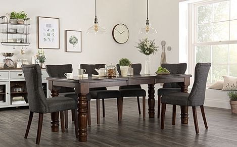 Hampshire Dark Wood Extending Dining Table with 8 Bewley Slate Fabric Chairs